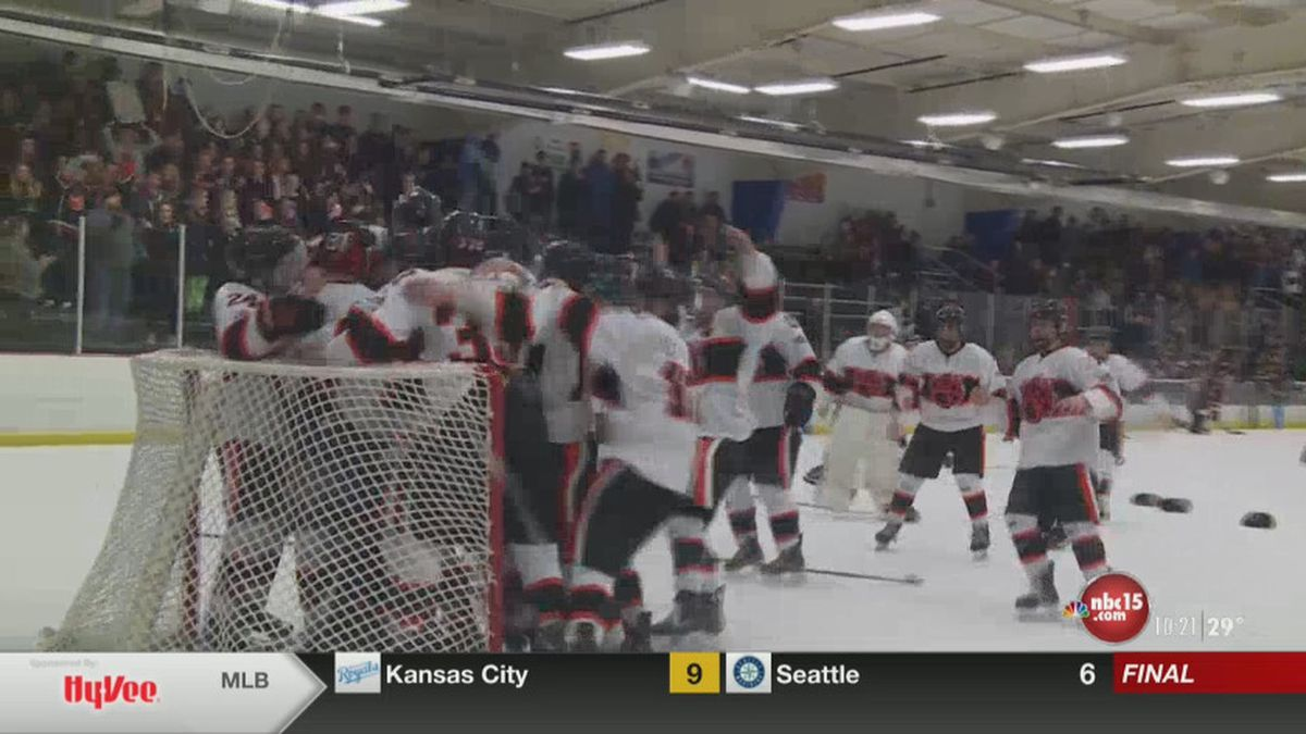 Verona celebrates their 5-2 win over Edgewood to advance back to the state semifinals