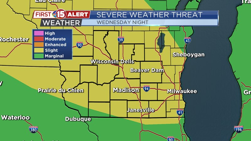 Severe Weather Threat Map - Wednesday