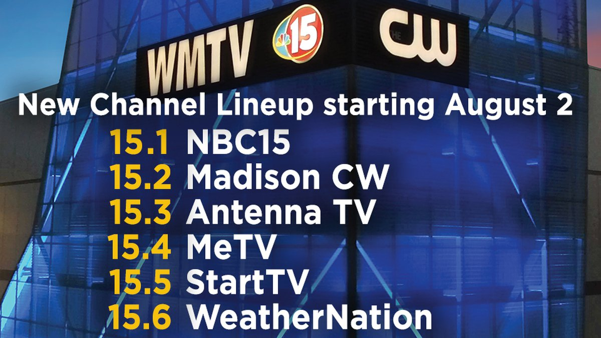 New WMTV-TV channels, starting Aug. 2