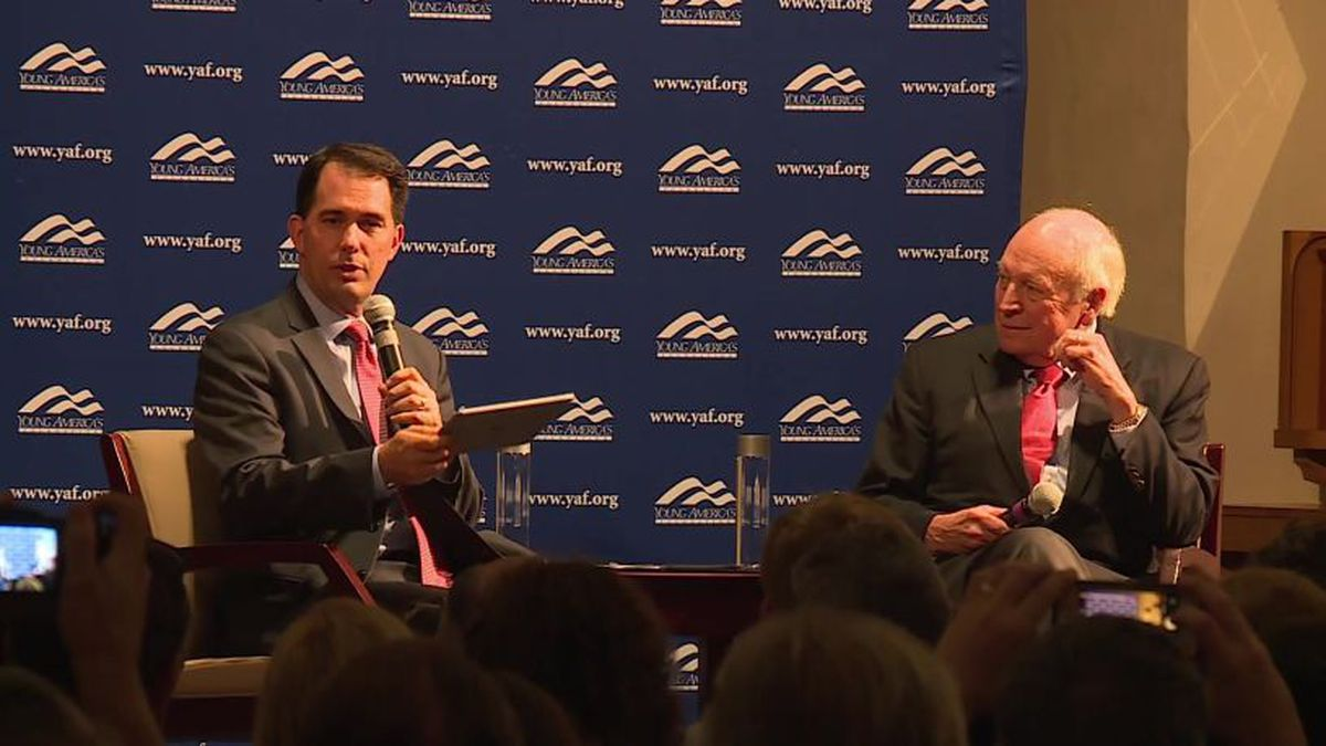 Former Gov. Scott Walker and former Vice President Dick Cheney at the event at Beloit College Thursday.