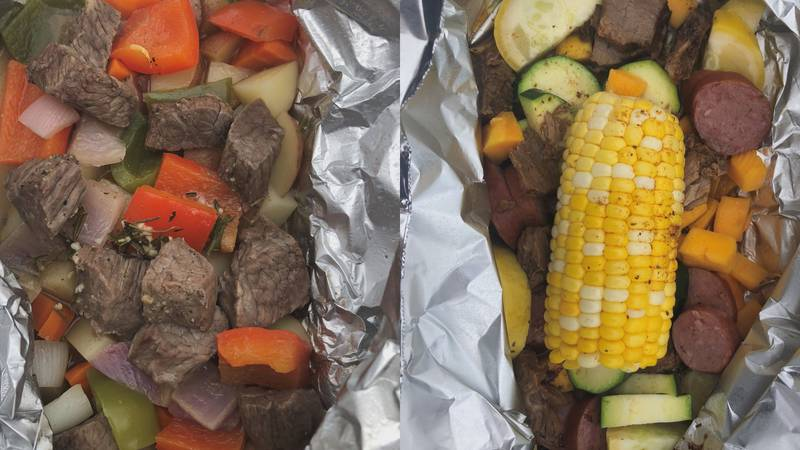 Foil packet meals to make at the campsite