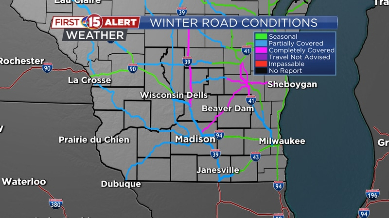 Winter Road Conditions - 9AM Sunday