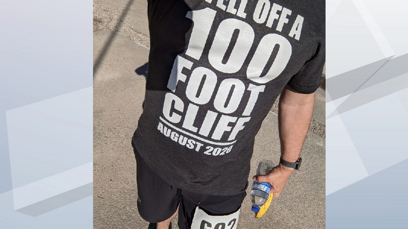 Chris Rand had this t-shirt specially made for his first 5K run in a race on Memorial Day....