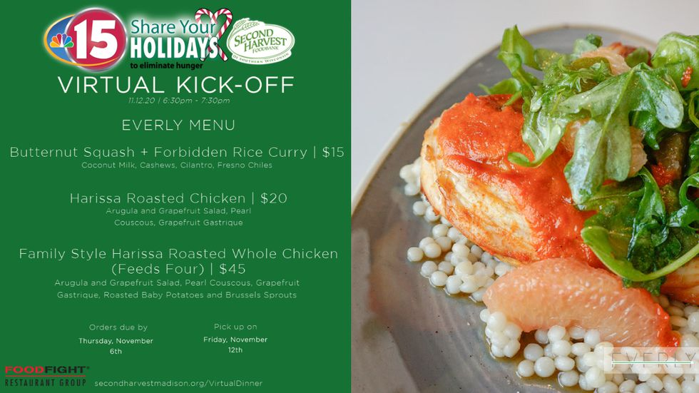 Everly menu for NBC15 Share Your Holidays Virtual Kickoff