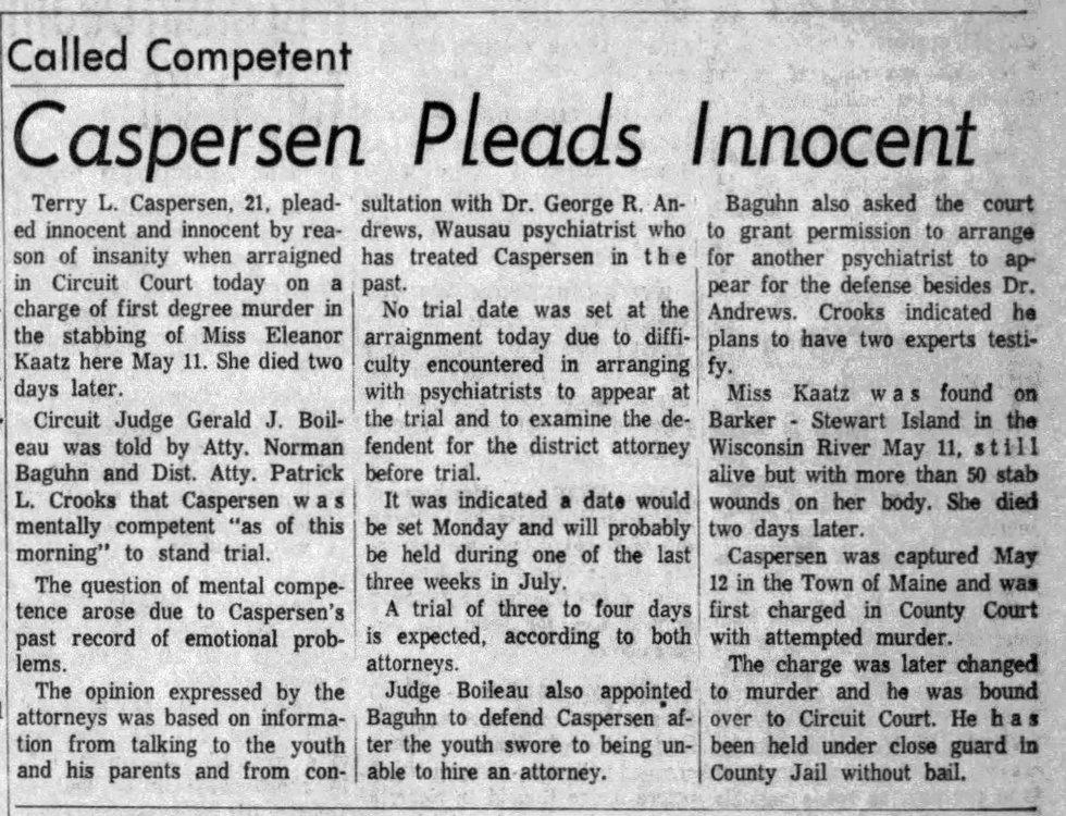 Wausau Daily Herald article May 29, 1964