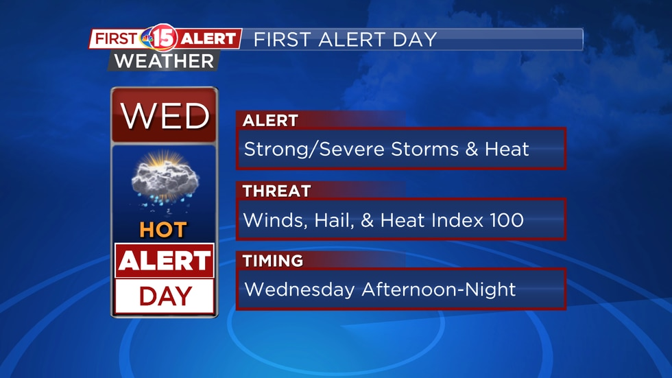 Wednesday is a First Alert Weather Day due to high heat and humidity as well as the threat of...