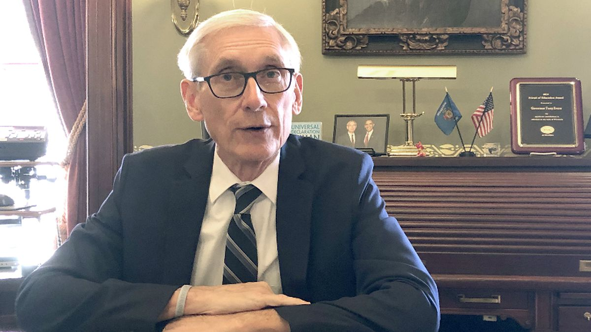 Wisconsin Gov. Tony Evers sits for an interview with The Associated Press Thursday, Dec. 19, 2019.