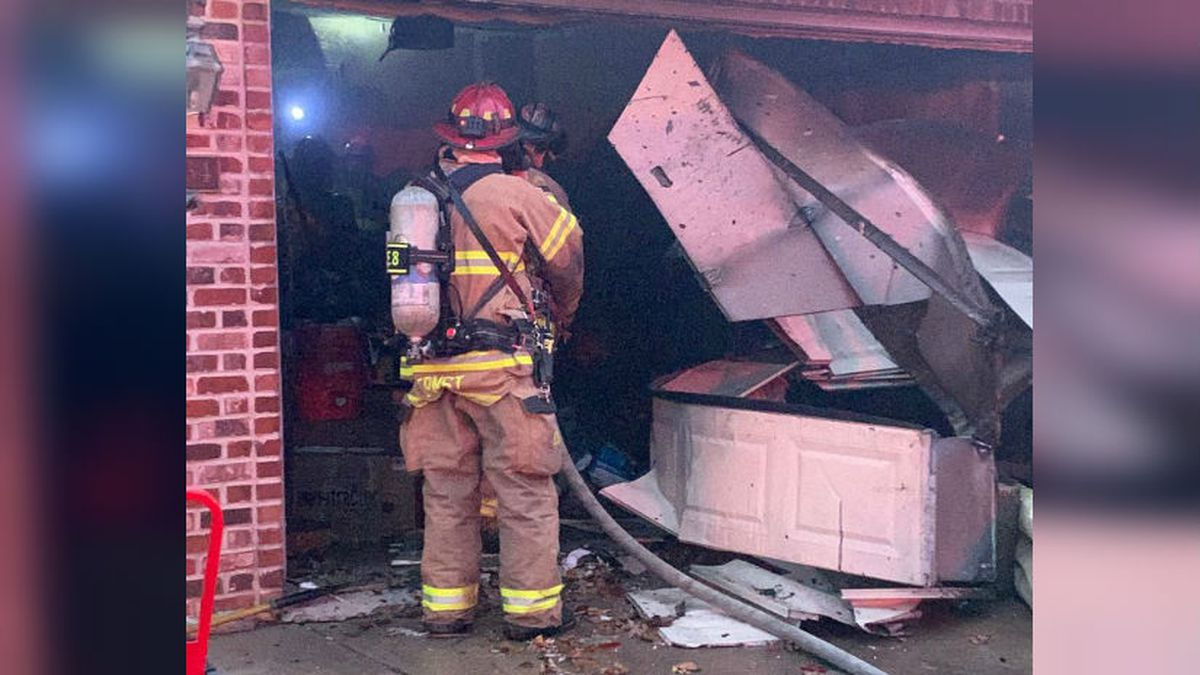 Madison firefighters responded to a garage fire on Thanksgiving Eve on North Thompson Drive. Courtesy: Madison Fire Dept.
