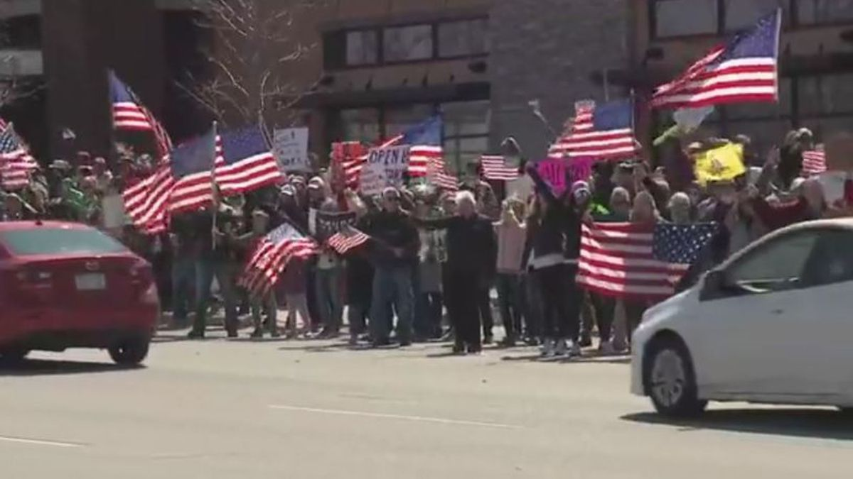Protests in Brookfield, Wis. Sarurday against the stay-at-home order. (Source: via FOX6)