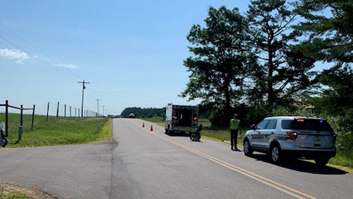 A helicopter transported a motorcycle rider to the hospital following a crash in Monroe Co. on Monday, July 8, 2020.