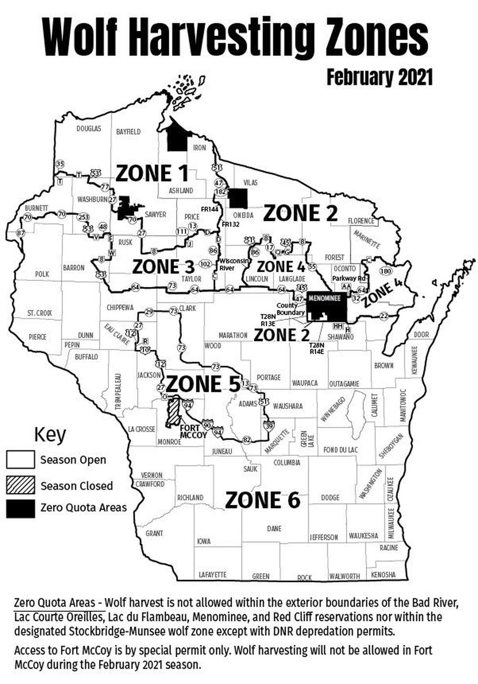A map of the Wolf Harvesting Zones in February 2021.