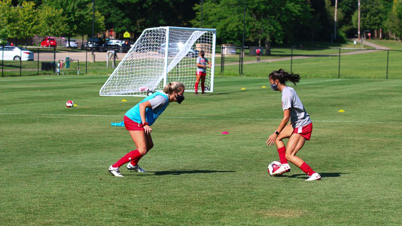 Wisconsin women's soccer practices in masks to prepare for the 2020 season while following...