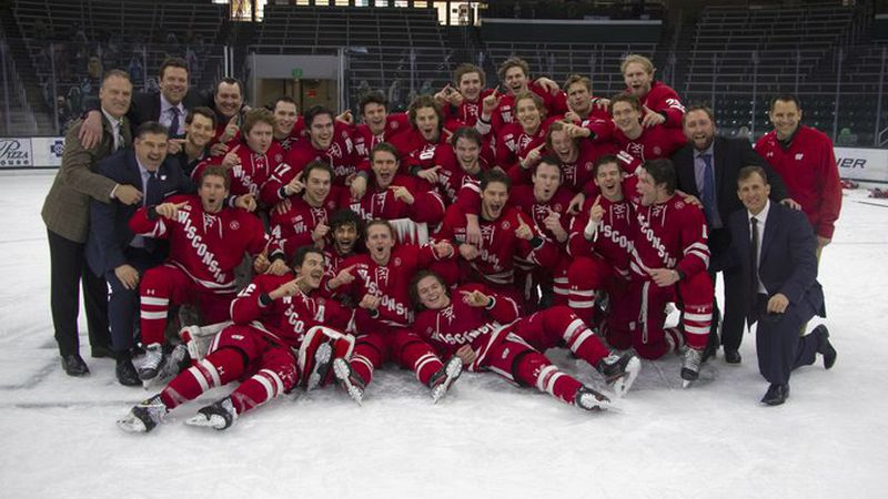 Wisconsin men's hockey celebrates winning the regular season Big Ten championship after a 2-1...