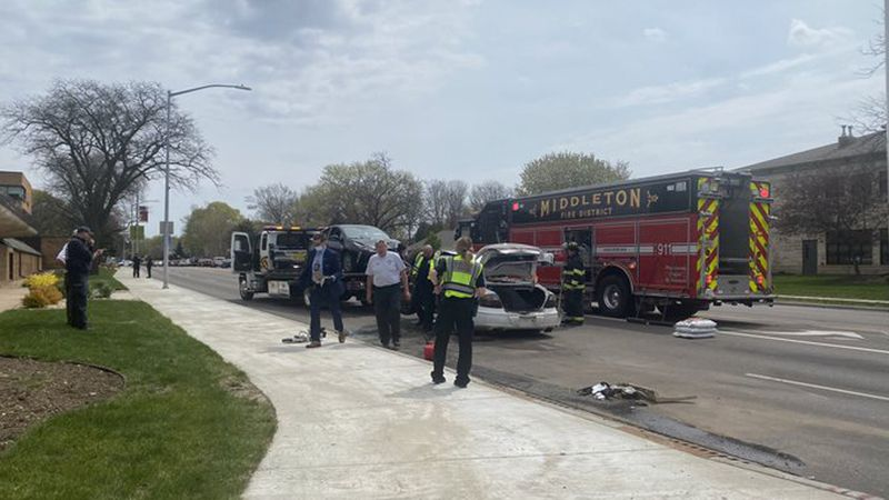 Emergency crews respond to a three-vehicle wreck in Middleton, on April 27, 2021.