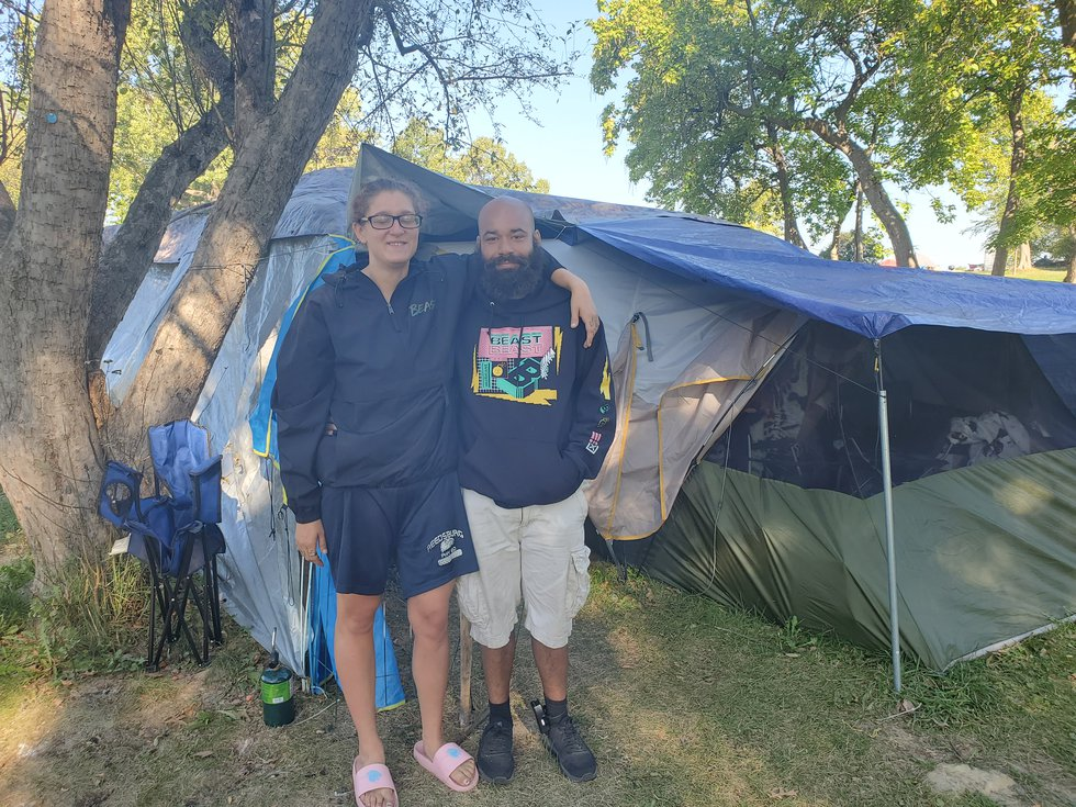 Jamie Goodyear and her boyfriend Anthony Kudingo are experiencing homelessness for the first...