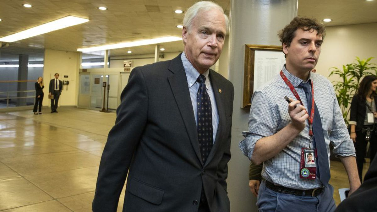 Sen. Ron Johnson, R-Wis., speaks to reporters on the first full day of the impeachment trial of...