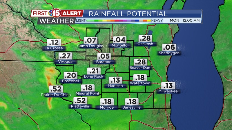 Rainfall Potential Saturday - Sunday