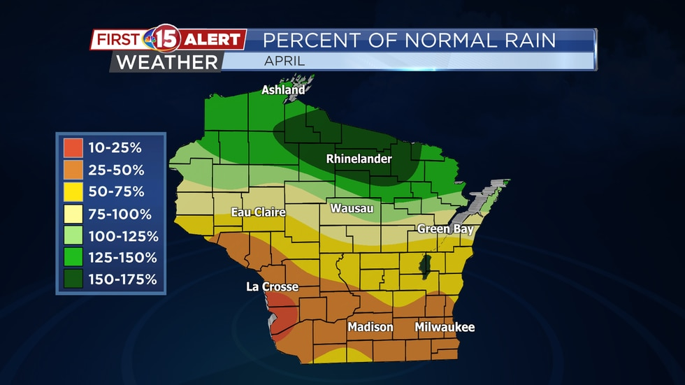 Most of southern Wisconsin only picked up between 25-50% of average rainfall this past April....