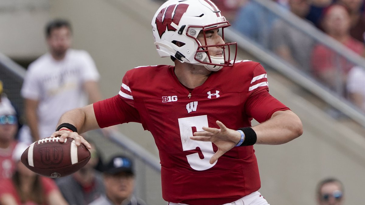 Wisconsin's Graham Mertz throws during the first half of an NCAA college football game against...