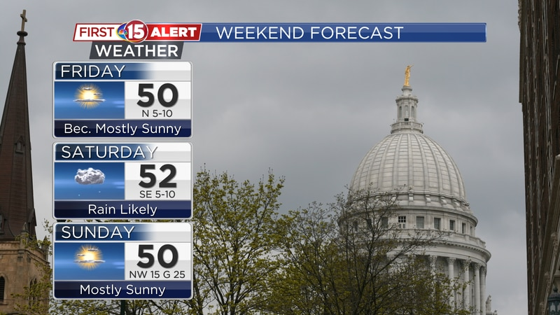 Highs will be in the low 50s over the three days. Rain will be likely for Saturday, especially...