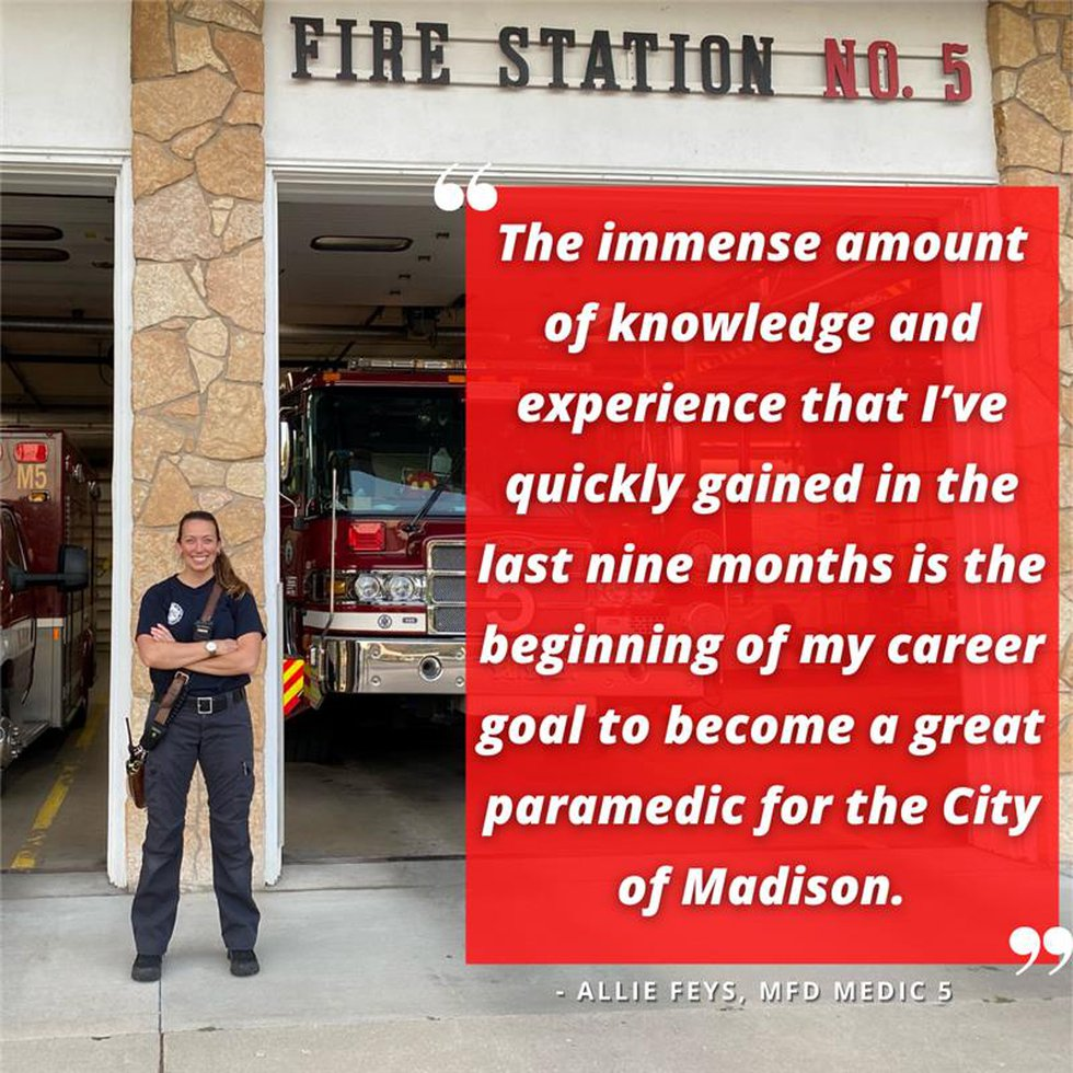 Allie Feys with Madison Fire Department
