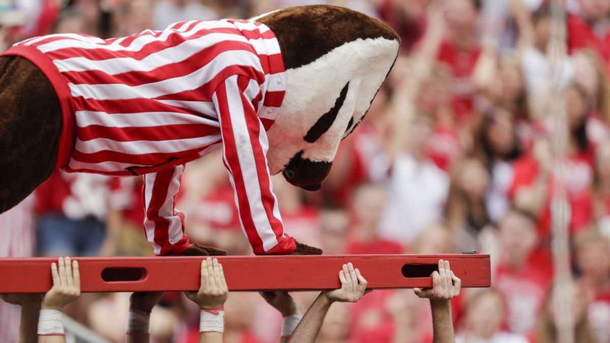 Bucky Badger performs pushups after Wisconsin scored at touchdown against Central Michigan during the second half of an NCAA college football game Saturday, Sept. 7, 2019, in Madison, Wis. (AP Photo/Andy Manis)