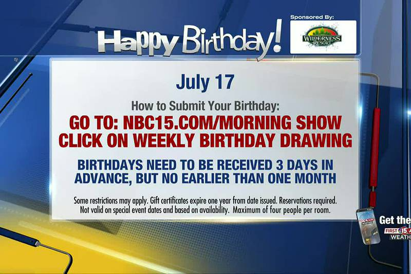 Birthdays for Saturday and Sunday, July 17 and 18