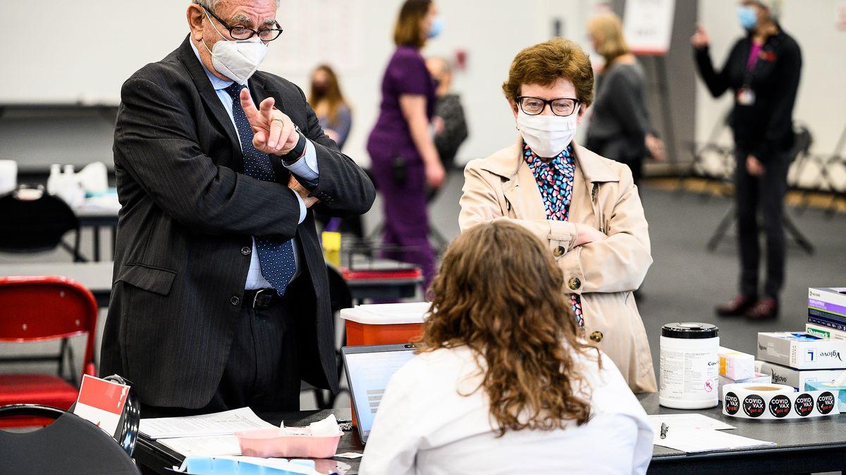 UW System interim President Tommy Thompson, left, and UW-Madison Chancellor Rebecca Blank,...