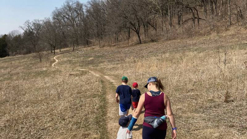Heather and her children start an Easter hike on the Ice Age Trail