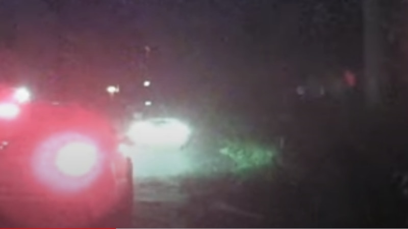Town of Madison video footage of suspect vehicle colliding with a police cruiser on Monday,...