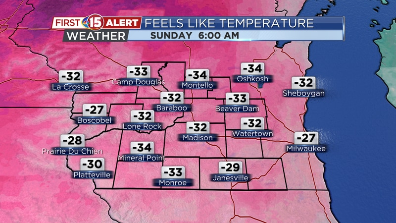 Wind chills could dip below -30°F Sunday morning. A Wind Chill Warning has been posted for...