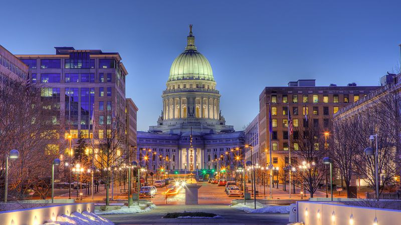 High Dynamic Range (HDR) image of Madison, Wisconsin skyline and state capitol