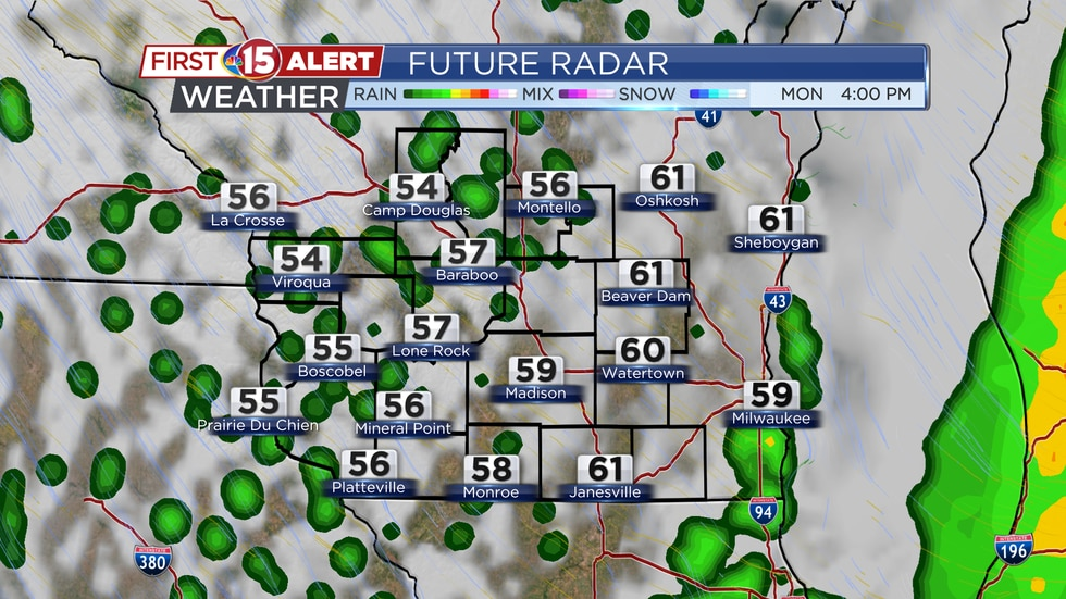 A few light showers are possible on the back-side of an upper-level weather system on Monday afternoon.