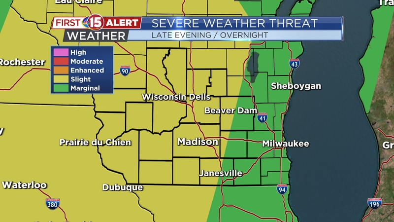There is a Slight Threat of severe thunderstorms overnight. Strong wind, heavy rain, and...