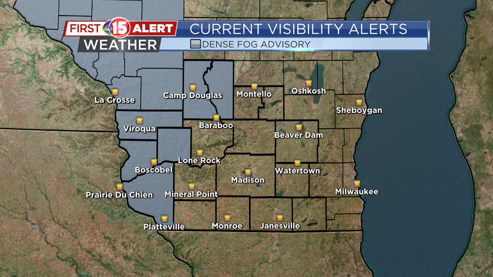 A Dense Fog Advisory is in effect until 10:00 a.m. today for the areas shaded in gray.