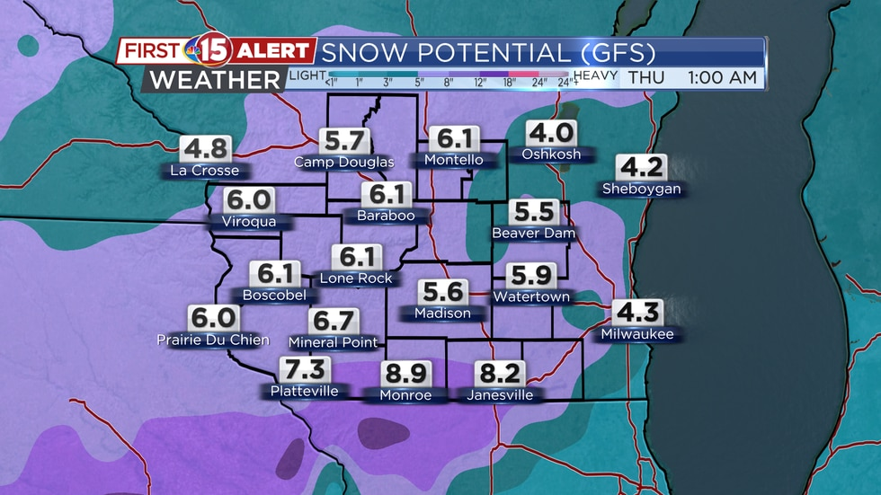 Heavy snow will develop from southwest to northeast later in the day Tuesday and continue...