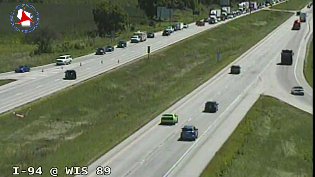 Traffic delay on I-94 near Lake Mills on Aug. 9, 2019 due to a multi-vehicle crash. Photo: WisDOT