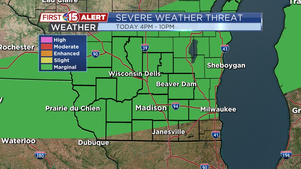 Severe Weather Threat Map - Monday