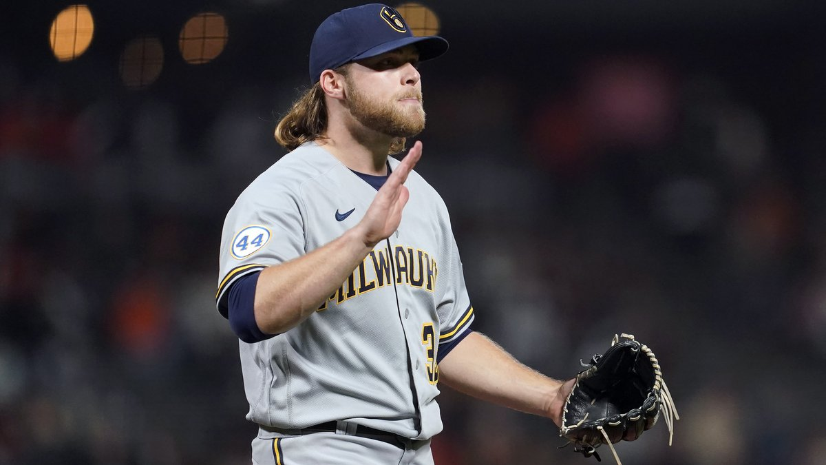 Milwaukee Brewers pitcher Corbin Burnes reacts after striking out San Francisco Giants' Buster...