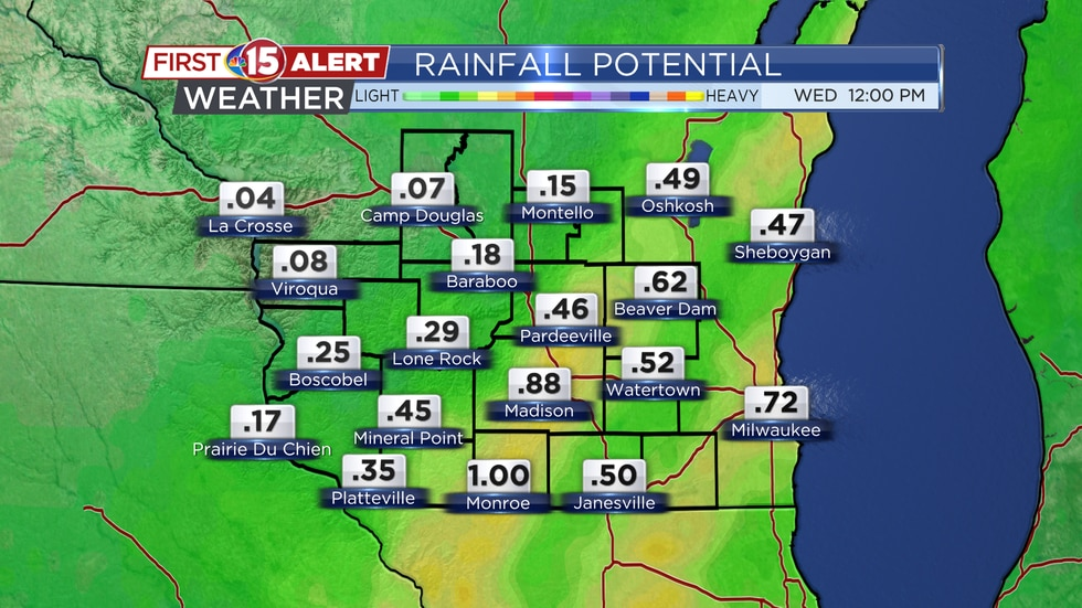 Rainfall Potential Tuesday - Wednesday AM