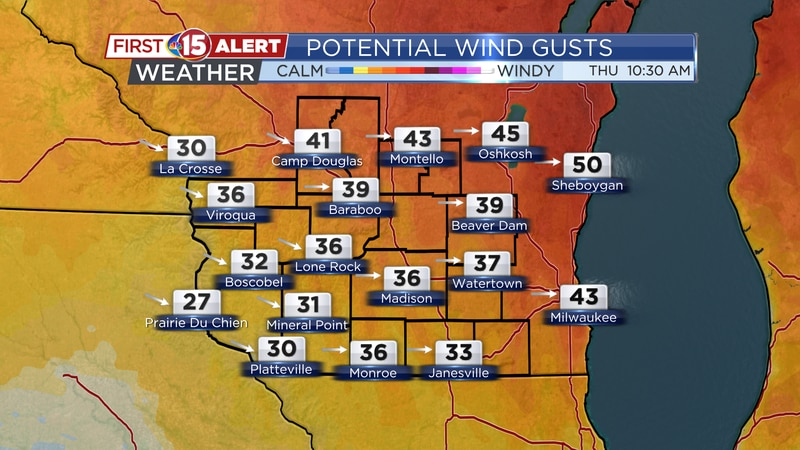 Wind gusts could top 40-45 mph early Thursday.
