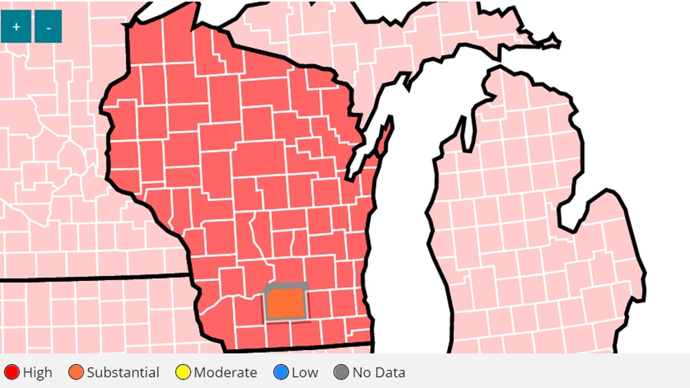 """CDC: All of Wisconsin has """"High"""" COVID-19 transmission – except Dane Co."""