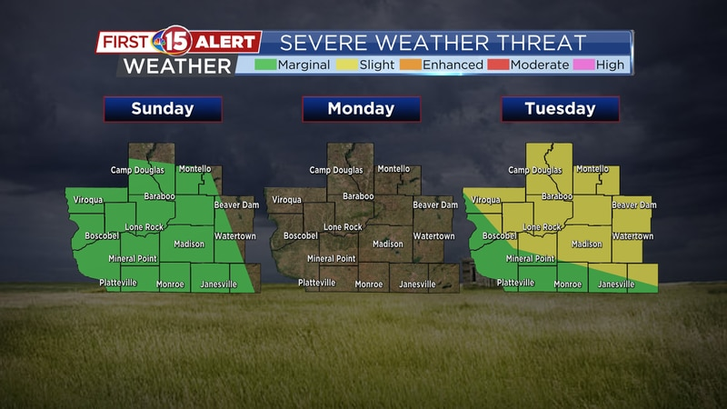 Next best chance of severe weather comes on Tuesday.