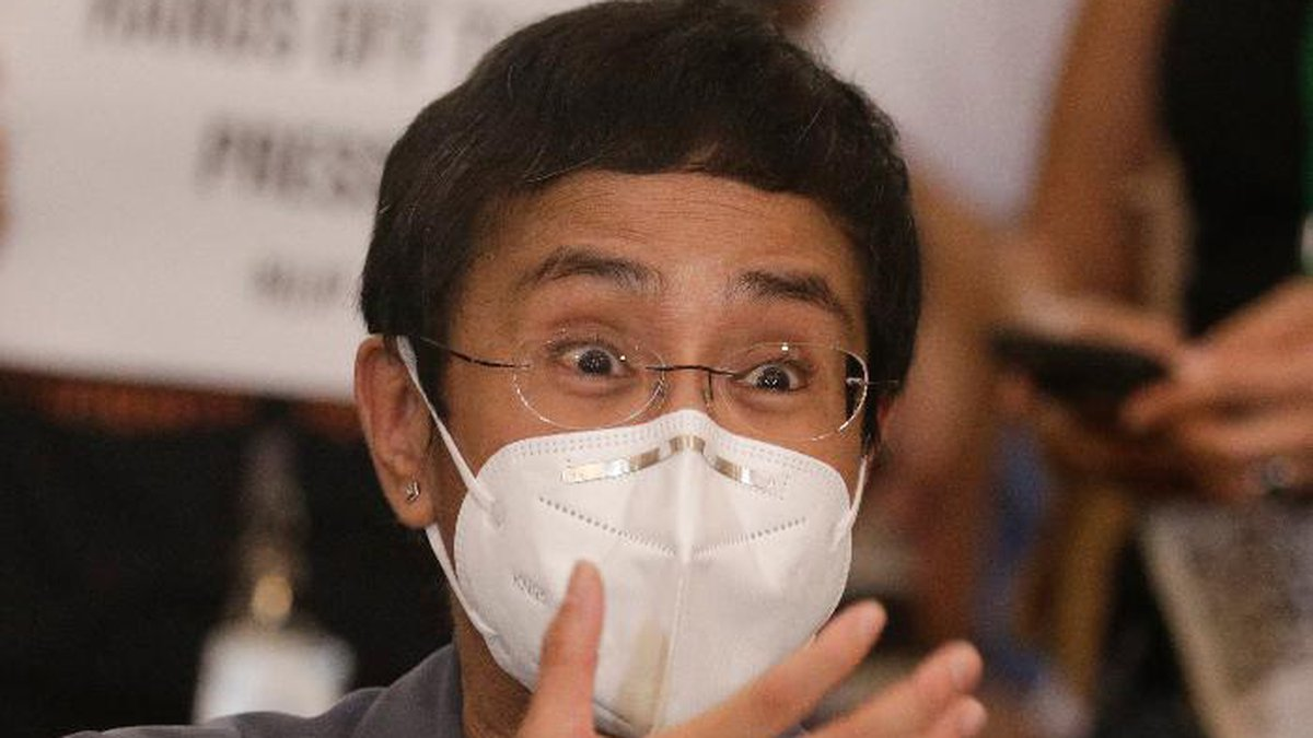 Rappler CEO and Executive Editor Maria Ressa gestures during a press conference in Manila,...