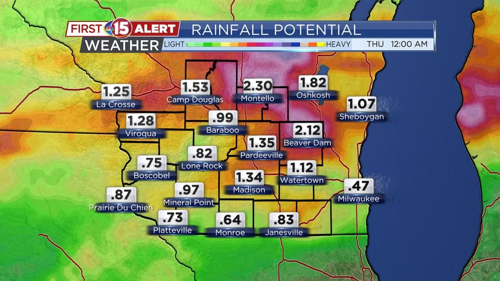 Rainfall Potential - Monday - Wednesday