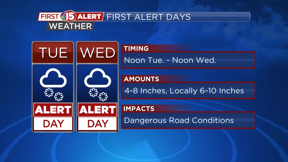 NBC15 meteorologists have declared today and tomorrow First Alert Weather Days due to heavy...