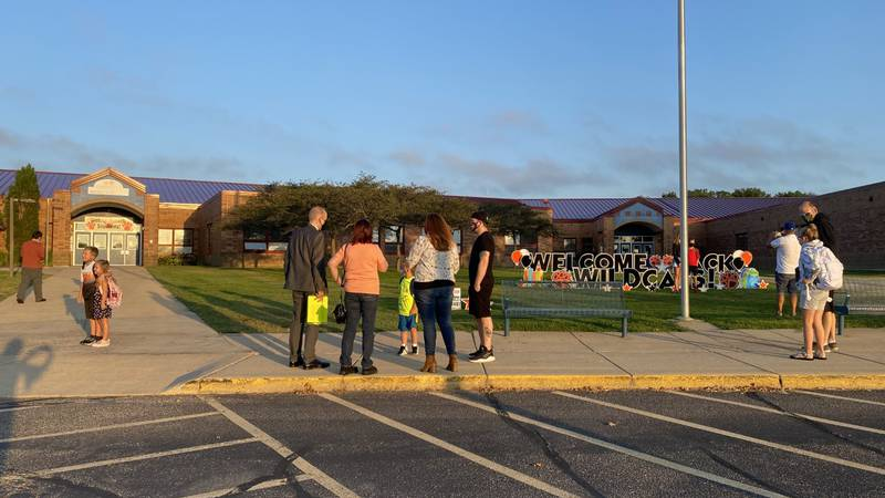 Students and staff arrive for the first day of school at Sugar Creek Elementary School in Verona.