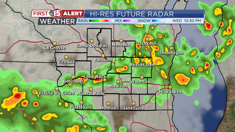 Isolated showers & storms are possible in southern Wisconsin Wednesday night.