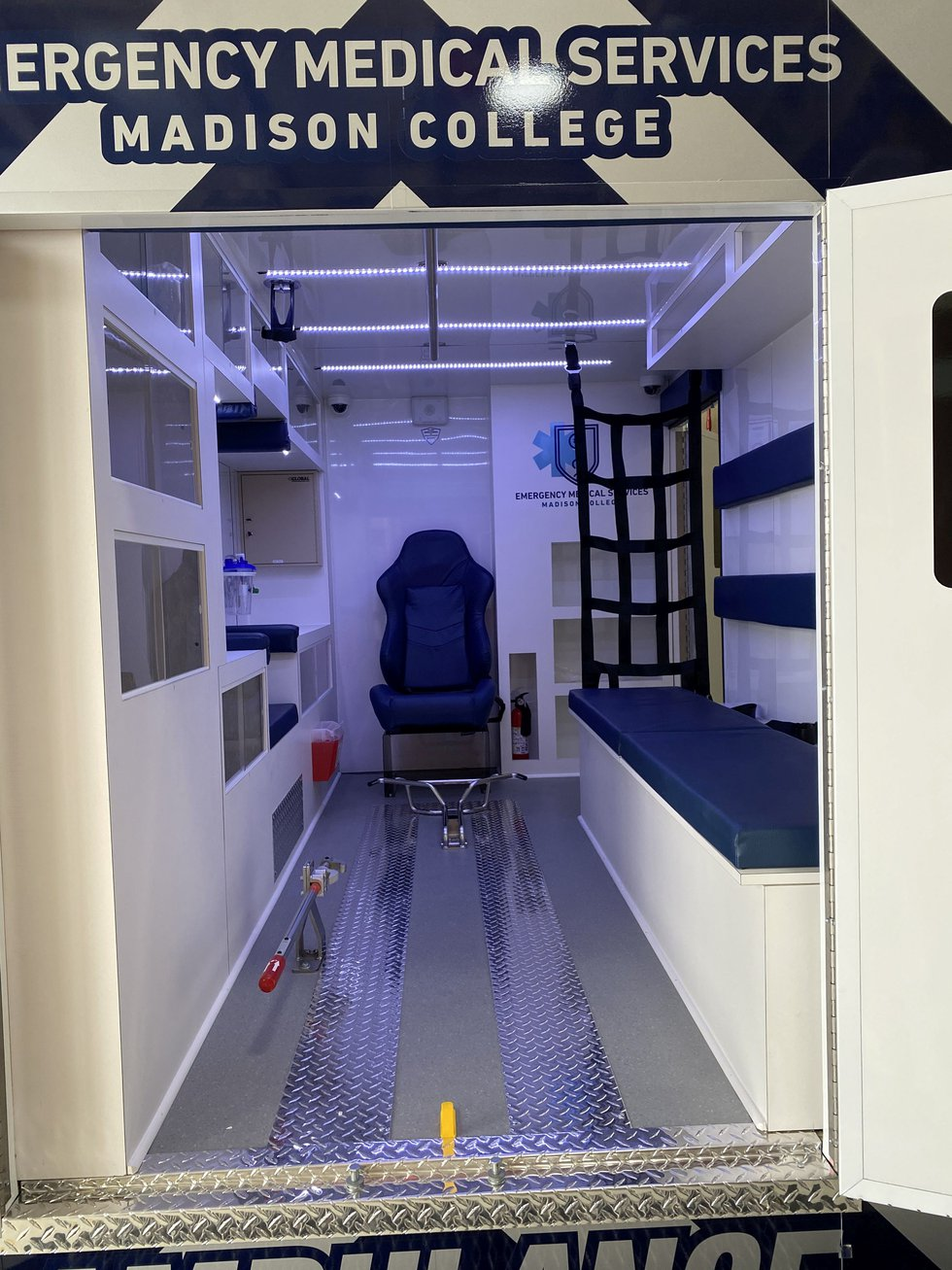 A look through the rear door of a simulated ambulance Madison College EMS students will now...