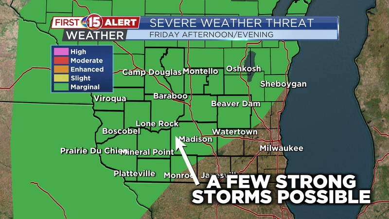 Isolated storms are possible Friday afternoon. One or two storms may strong - severe.